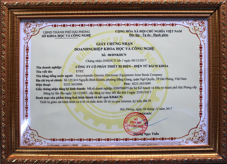 Chứng nhận doanh nghiệp KHCN hàng đầu tại Việt Nam