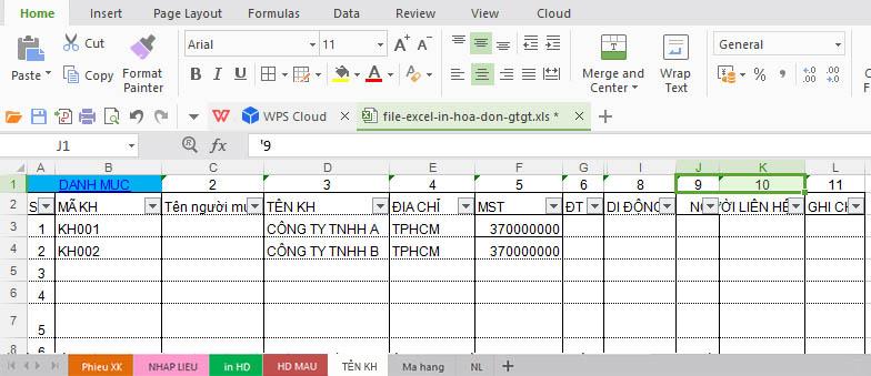 """Tại Sheet """"Ma hang"""" giúp bạn bổ sung sửa đổi mã hàng, tên hàng, đơn vị tính và số lượng trong hóa đơn GTGT:"""
