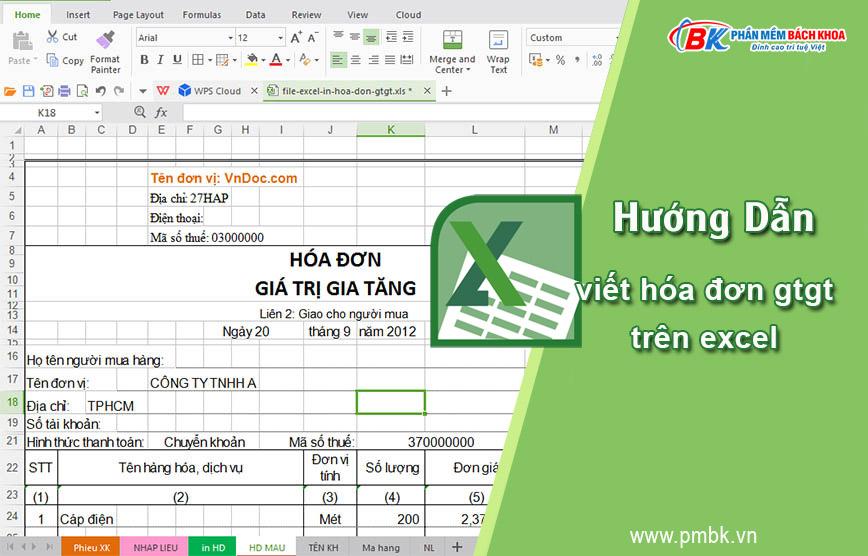 hướng dẫn viết hóa đơn GTGT trên file excel