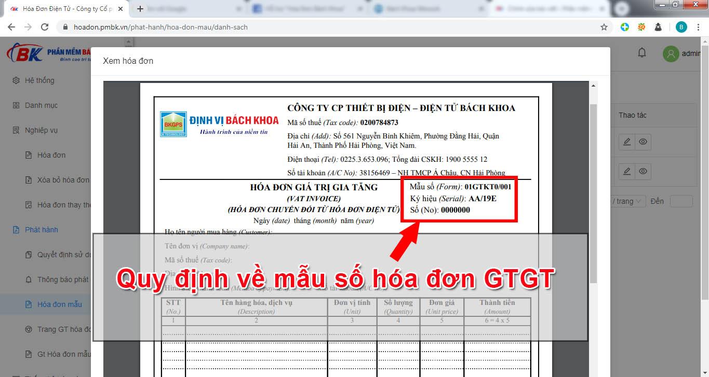 Quy định về mẫu số hóa đơn gtgt
